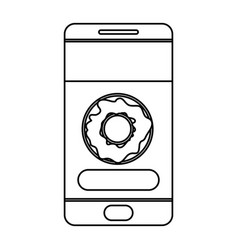 smartphone with food app with donut icon vector image
