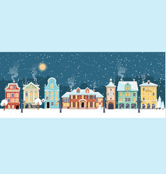 snowy christmas night in cozy town city panorama vector image