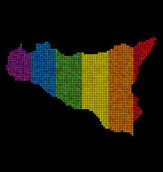 spectrum dotted sicilia map vector image