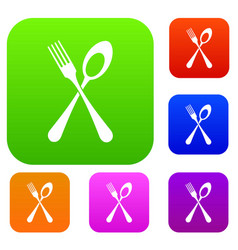 spoon and fork set collection vector image