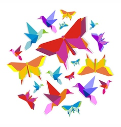 Spring Origami bird and butterfly circle vector image
