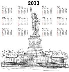 statue of liberty 2013 calendar vector image