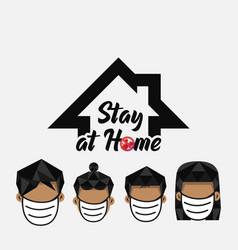 Stay at home family design vector