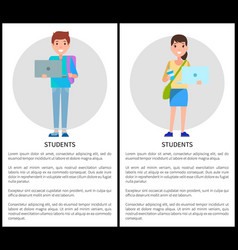 students education poster place text woman and man vector image