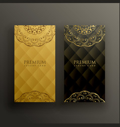 Stylish mandala premium golden card design vector