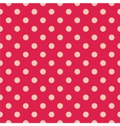 Tile pattern pink polka dots on red background vector image
