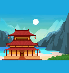 traditional chinese asian street with chinese vector image