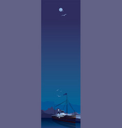 Vertical landscape with ship in clear night vector