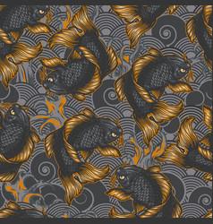 Vintage japanese sea seamless pattern vector