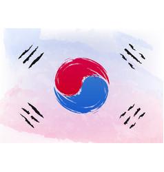 Watercolor brush flag of south korea officially vector
