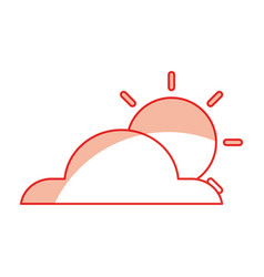 weather cloud with sun isolated icon vector image