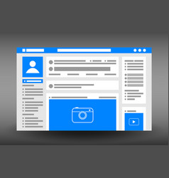 web page user interface template social network vector image