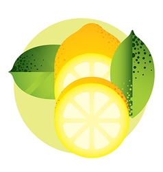 Whole and halved yellow lemon with green leaves vector