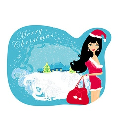 winter girl with gift bag vector image