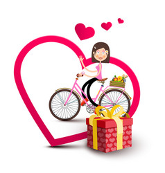 woman on bicycle inside big heart with gift box vector image