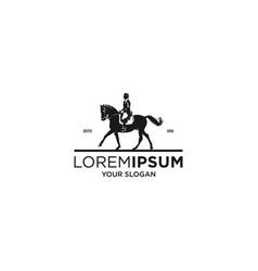 woman vintage jockey silhouette logo vector image
