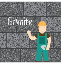 Worker at the granite wall vector image