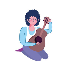 young playing guitar musical instrument isolated vector image