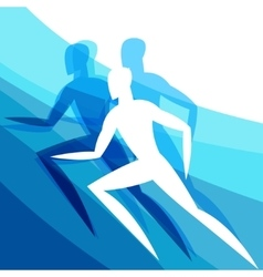 Background with abstract stylized running men vector image