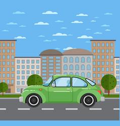 classic retro car in urban landscape vector image