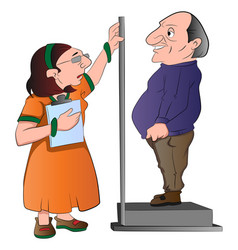 lady measuring a mans height vector image