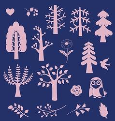 Wood fantasy elements vector image vector image