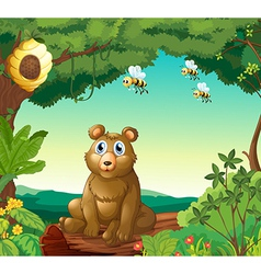 A bear and the three bees in the forest vector image vector image