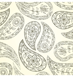 Contour seamless floral pattern vector image