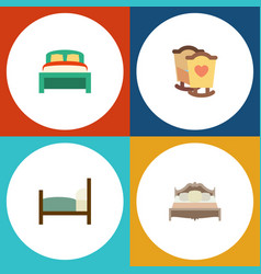 Flat bedroom set of furniture bed crib and other vector