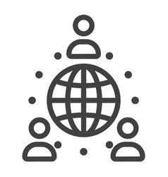 global partnership line icon business vector image