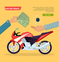 hand passing key process of buying motorbike vector image vector image