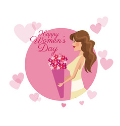 happy womens day card girl flower pink hearts vector image vector image