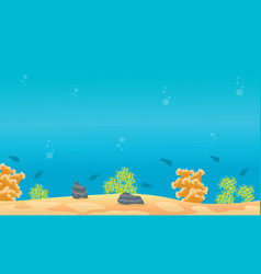 Reef and fish on underwater landscape vector