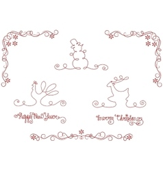 set of silhouette christmas and new year symbols vector image vector image
