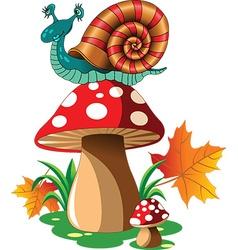 Snail mushroom cartoon vector image