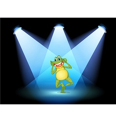 A frog smiling in the middle of the stage vector image vector image