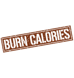 Burn calories square grunge stamp vector