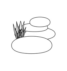 contour of spa therapy lava stones and grass vector image vector image