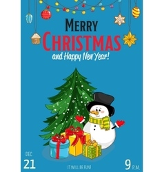 Merry Christmas Placard for Holiday Party Ad vector image vector image