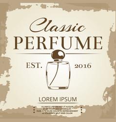 perfume vintage label on vintage poster background vector image vector image