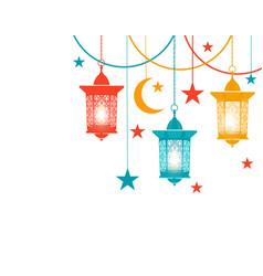 ramadan kareem colored lanterns in the oriental vector image vector image