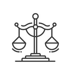 Scales of Justice - line design single isolated vector image