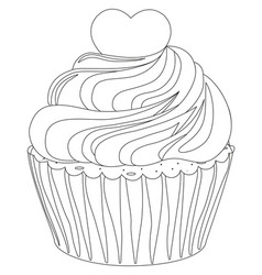 black and white cupcake poster heart topping vector image vector image
