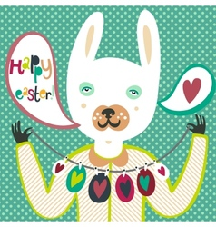Colorful Easter card with bunny and eggs vector image