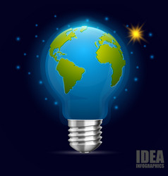 creative idea earth green energy vector image vector image