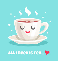 cute teacup of black tea vector image