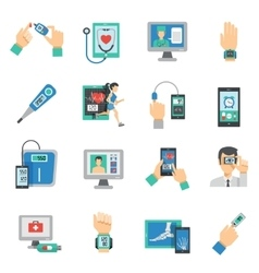 Digital Health Icons Flat Set vector image vector image