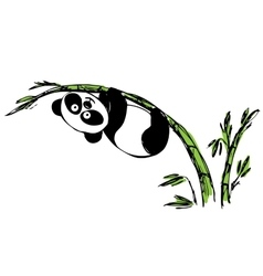 Little cute panda hanging on bamboo vector image vector image