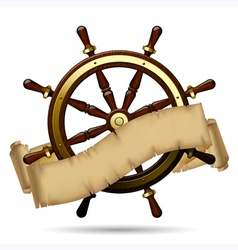 Steering wheel with a parchment vector image vector image