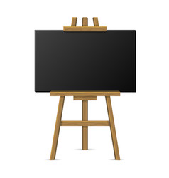 wooden easel with blank chalkboard vector image vector image
